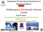 indonesian private sector experience recommendation multipurpose community internet center