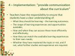4 implementation provide communication about the curriculum