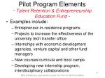 pilot program elements talent retention entrepreneurship education fund16