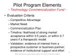 pilot program elements technology commercialization fund10