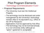 pilot program elements technology commercialization fund9
