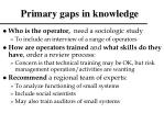 primary gaps in knowledge