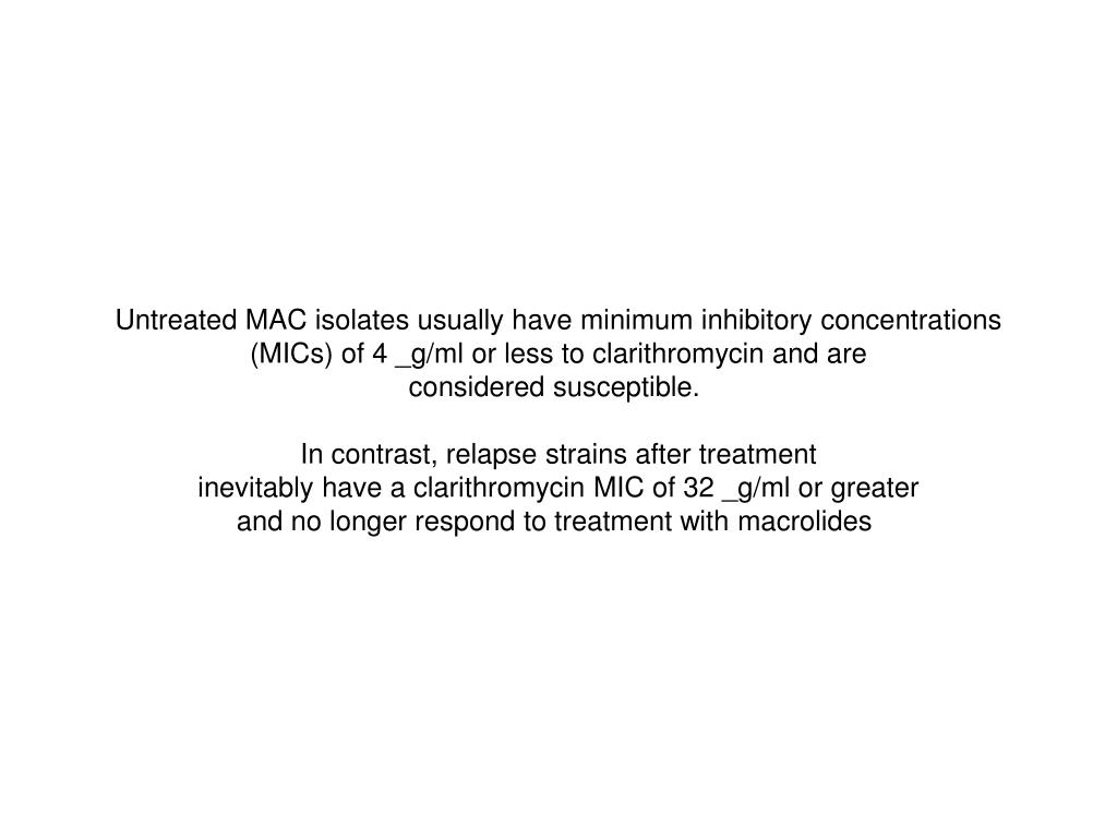 Untreated MAC isolates usually have minimum inhibitory concentrations