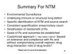 summary for ntm