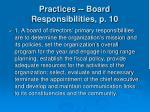 practices board responsibilities p 10