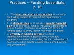 practices funding essentials p 16