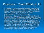 practices team effort p 11