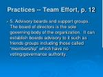 practices team effort p 12