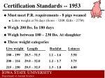 certification standards 1953