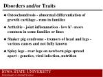 disorders and or traits
