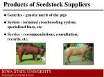 products of seedstock suppliers
