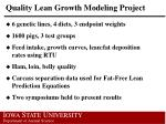 quality lean growth modeling project