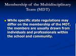 membership of the multidisciplinary team mdt