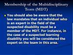 membership of the multidisciplinary team mdt19