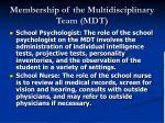 membership of the multidisciplinary team mdt20