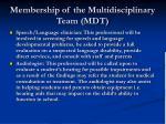 membership of the multidisciplinary team mdt25