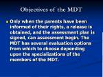 objectives of the mdt