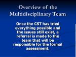 overview of the multidisciplinary team