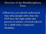 overview of the multidisciplinary team6