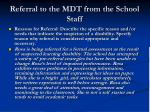 referral to the mdt from the school staff11