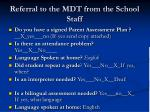 referral to the mdt from the school staff13