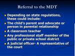 referral to the mdt
