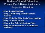review of special education process part i determination of a suspected disability