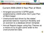 current 2000 2004 5 year plan of work