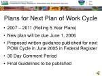 plans for next plan of work cycle