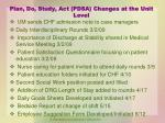 plan do study act pdsa changes at the unit level