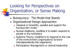 looking for perspectives on organization or sense making