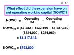 what effect did the expansion have on net operating working capital nowc