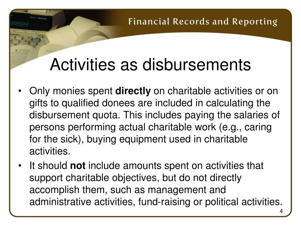 Activities as disbursements