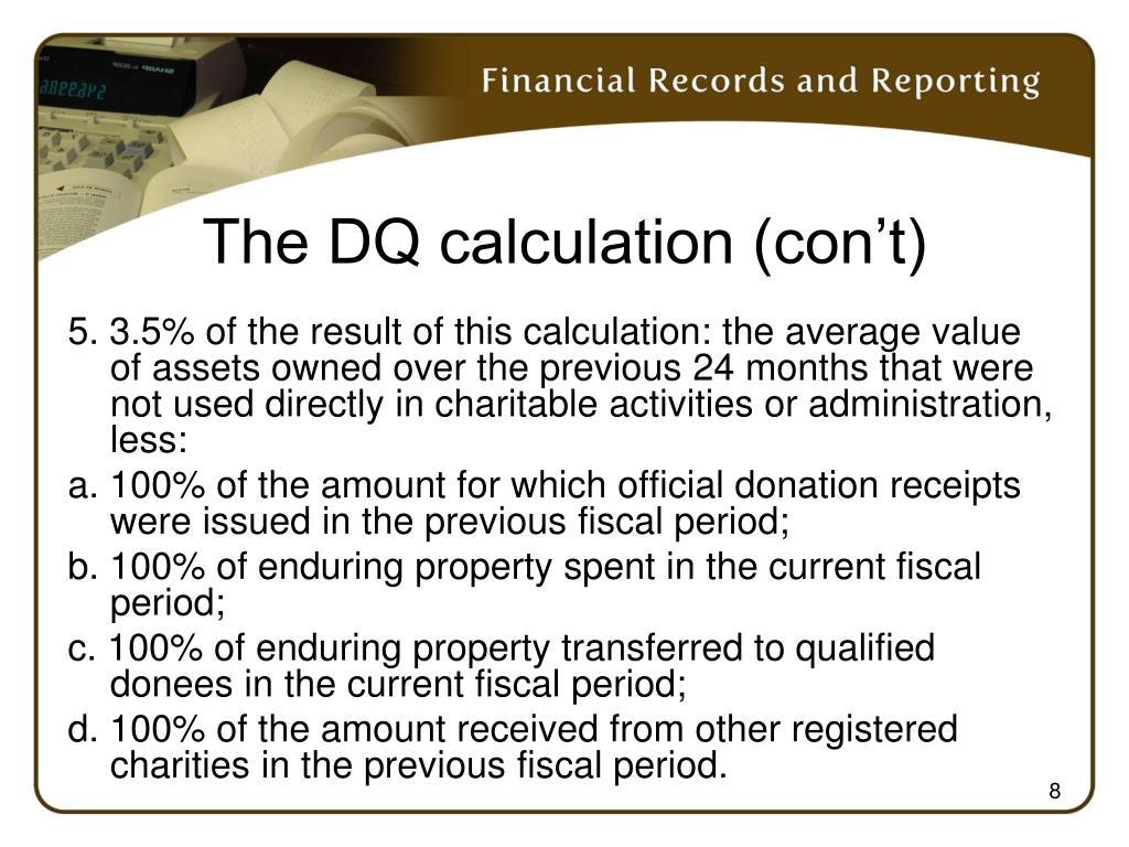 The DQ calculation (con't)