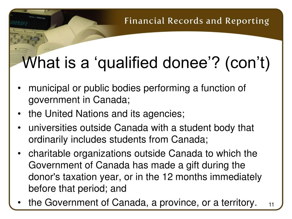 What is a 'qualified donee'? (con't)