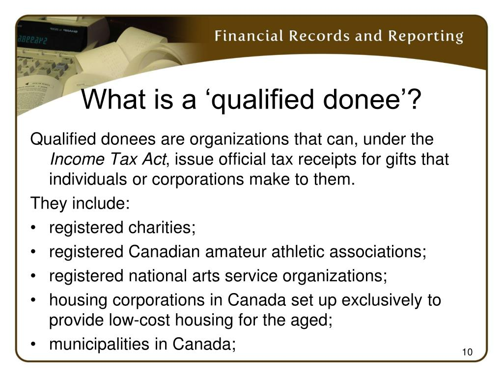 What is a 'qualified donee'?