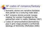 sf codes of romance fantasy