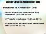 section 1 student achievement data