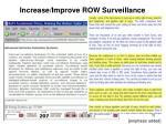 increase improve row surveillance