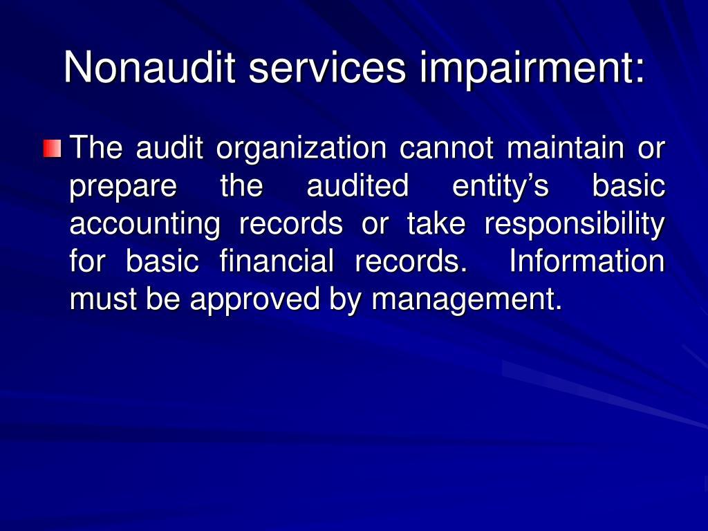Nonaudit services impairment: