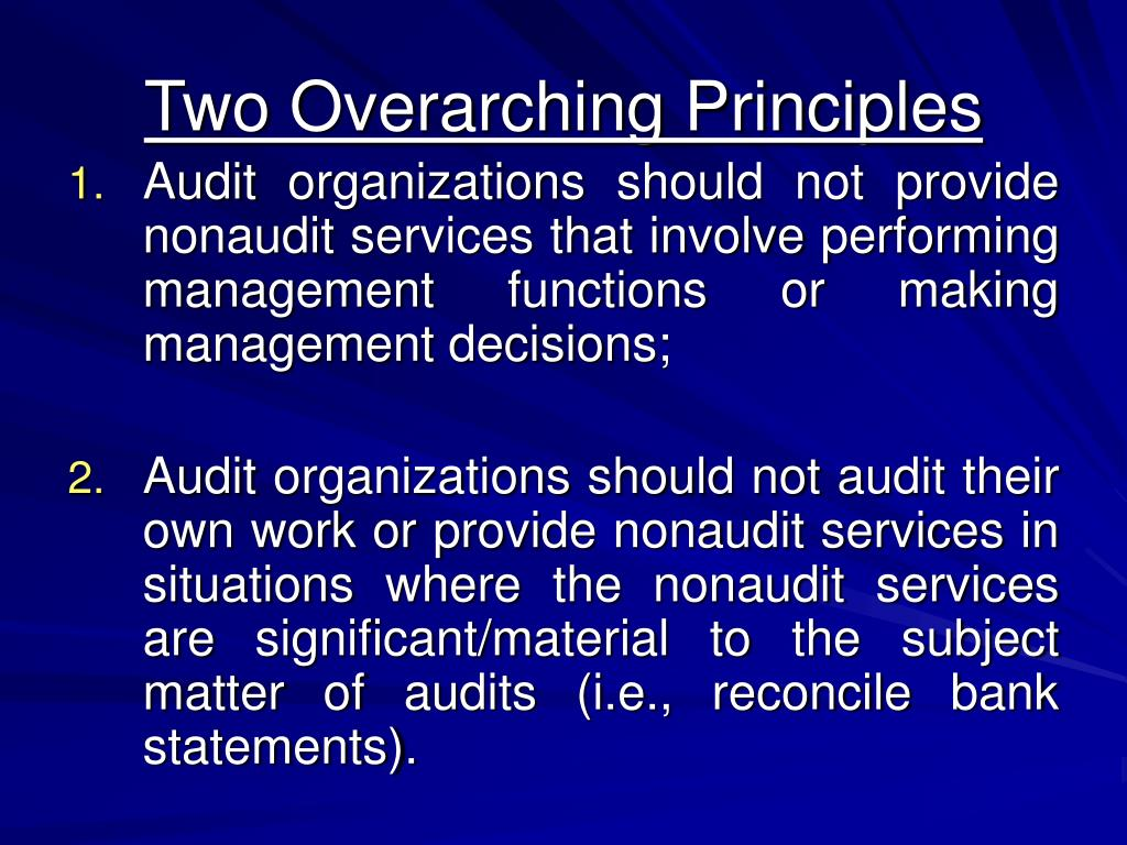 Two Overarching Principles