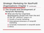 strategic marketing for nonprofit organizations chapter 1 continued