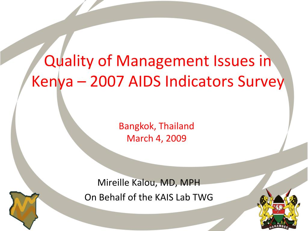 quality of management issues in kenya 2007 aids indicators survey l.