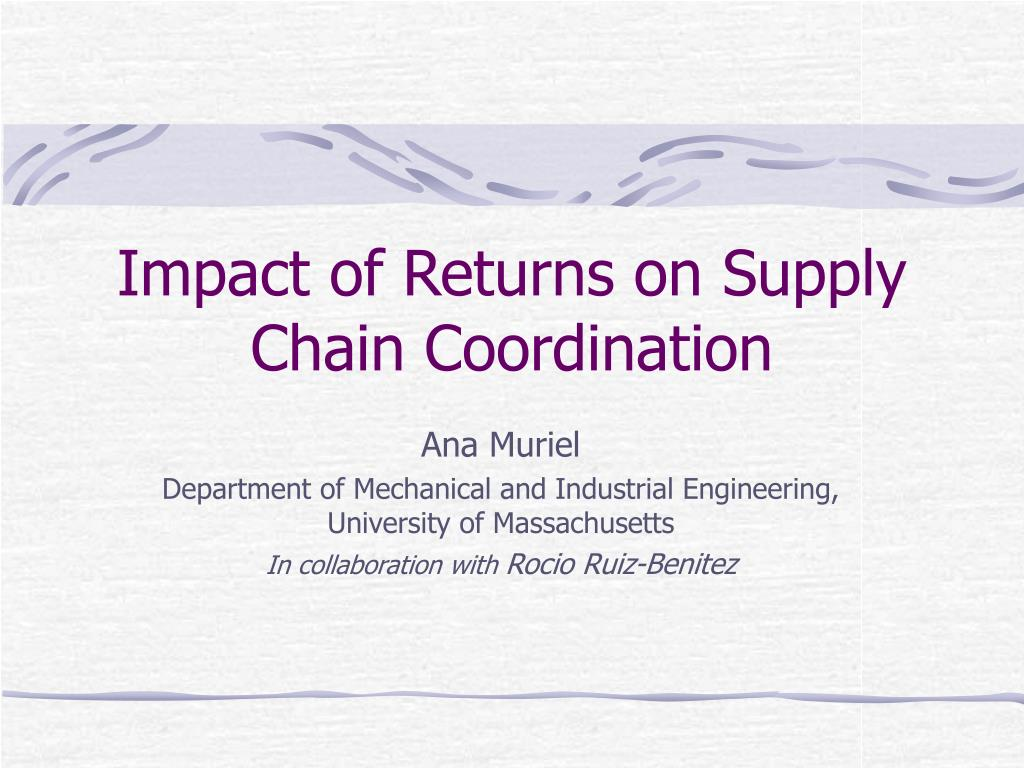 impact of returns on supply chain coordination l.
