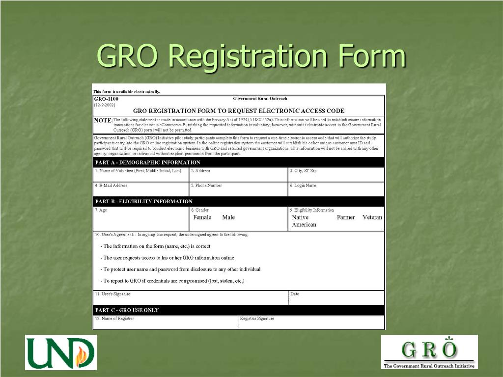 GRO Registration Form