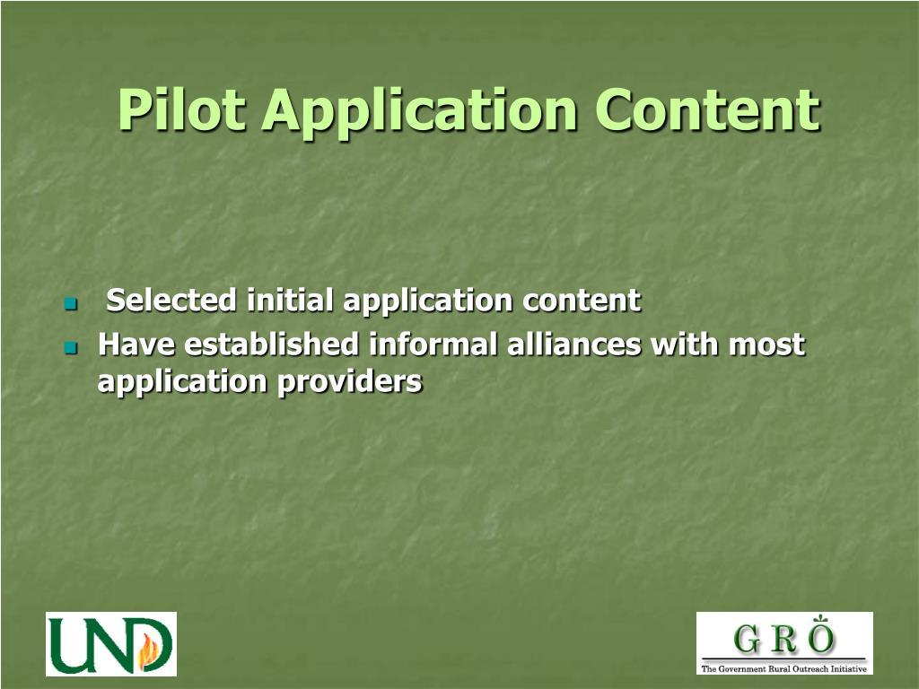 Pilot Application Content