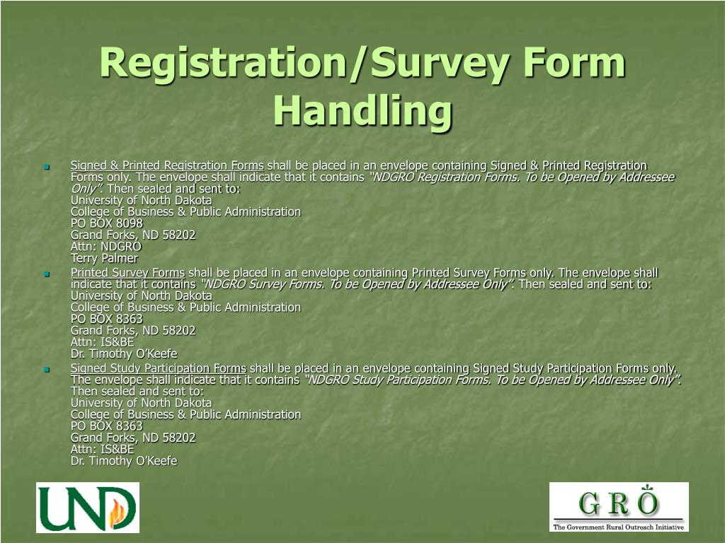 Registration/Survey Form Handling