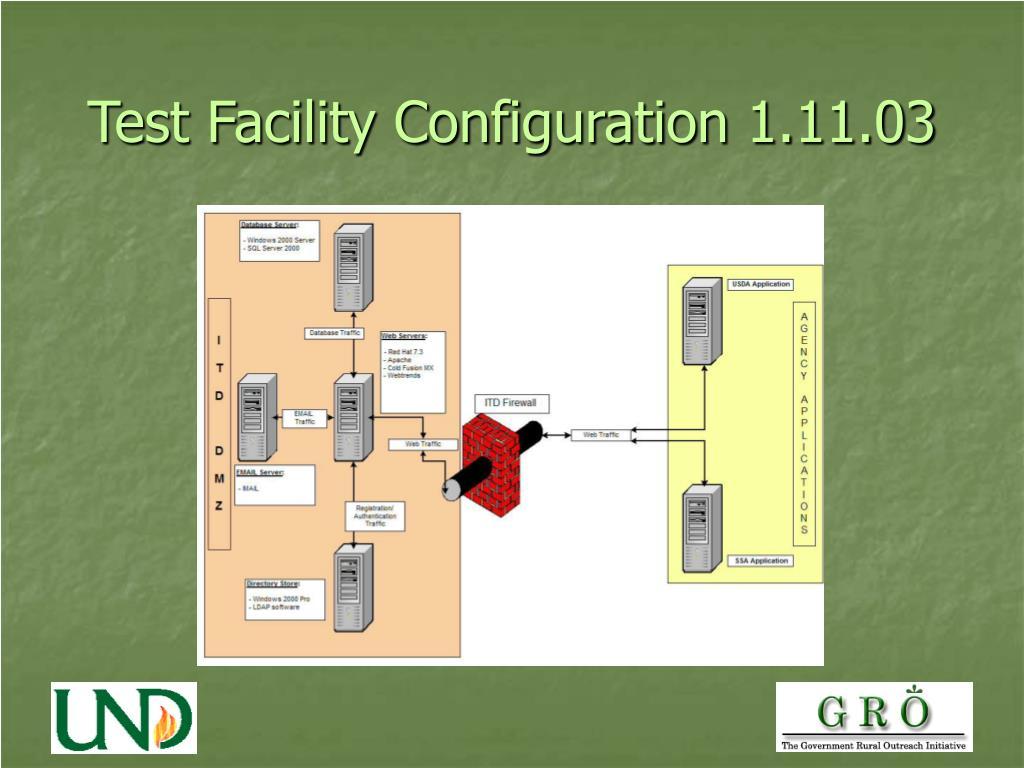 Test Facility Configuration 1.11.03