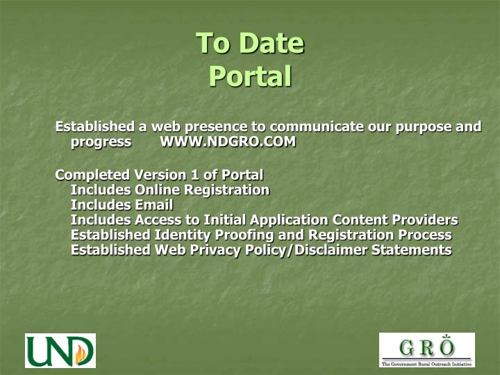 To date portal