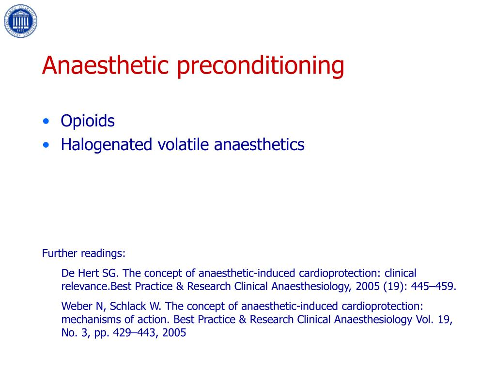 Anaesthetic preconditioning
